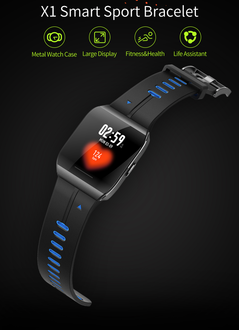 X1 1.3 inch Color Display Nordic nRF52832 Dynamic Heart Rate Monitor Multi-sports Smart Bracelet