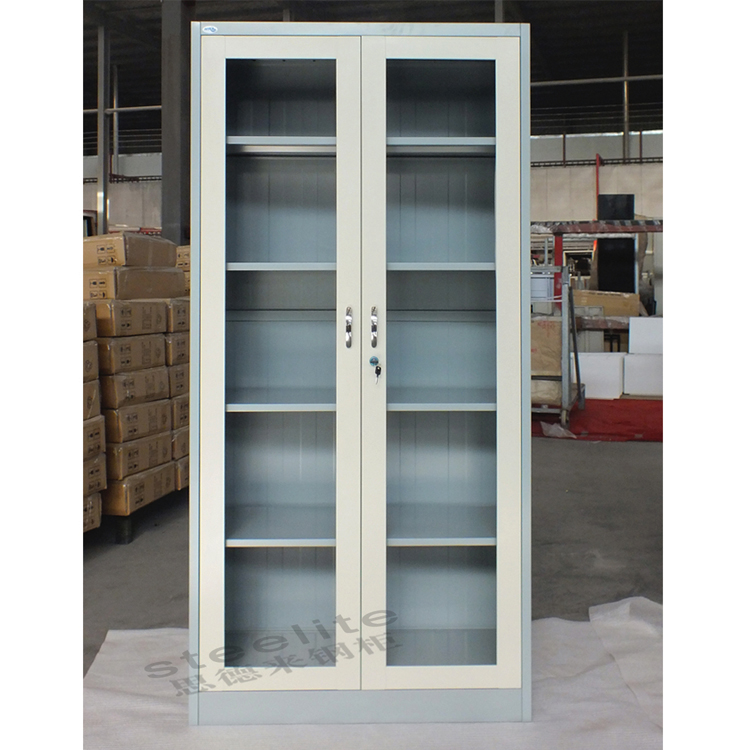 Cheap Price 2 Steel Swing Door Filing Cabinet Iron Display Glass