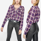 Women Clothing Cross Over With Long Sleeve Plaid Women Blouse And Top
