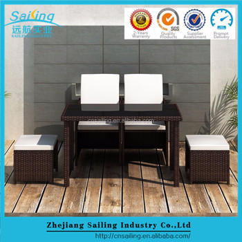 Garden Dining Furniture Set Poly Rattan Outdoor Patio Table Chair Steel Frame