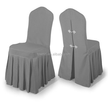 Folding Spandex Wrinkle Dining Room Jacquard Chair Covers Washable Grey Color Cover For Restaurant