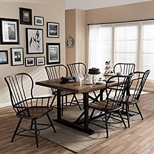 Get Quotations · Longford Wood And Metal Vintage Industrial 7 Piece Dining  Set Black