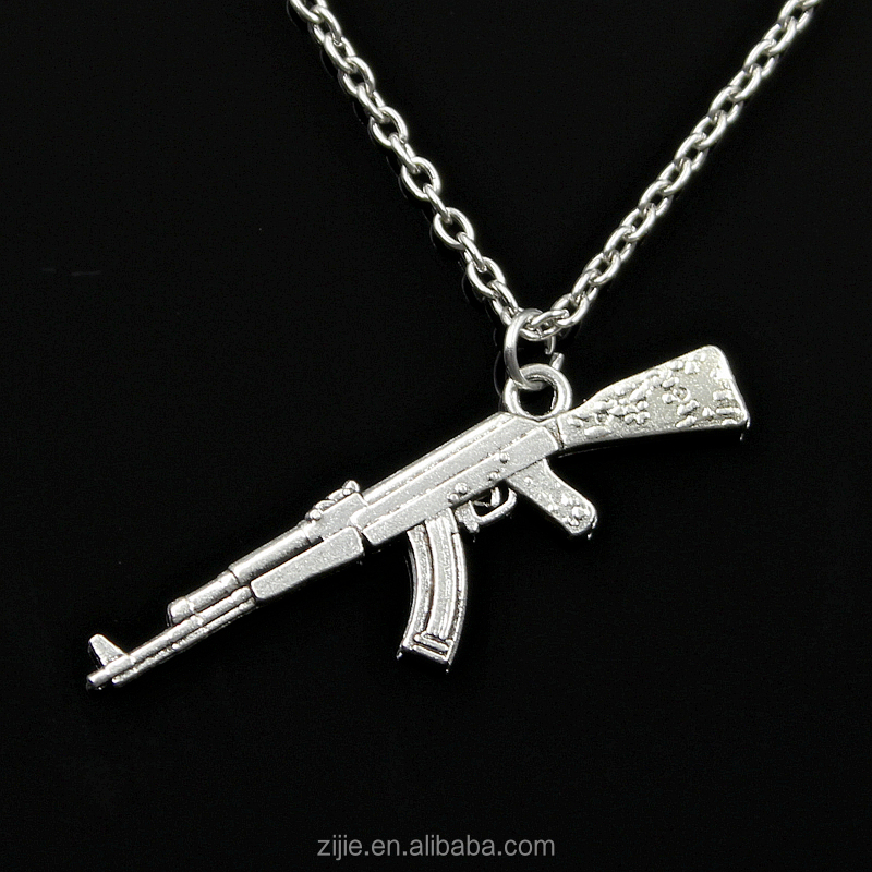Quality In Hip Hop Fashion Ak-47 Gun Model Pendant Necklaces Steampunk Acrylic Jewelry Arms Zircon Stainless Steel Statement For Men Excellent