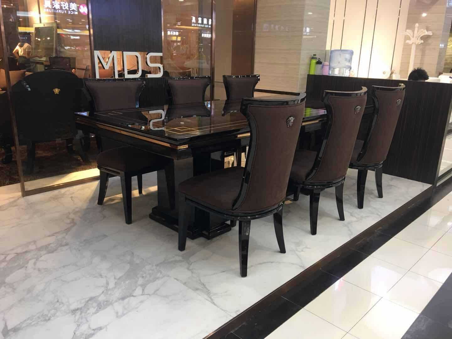 Large Dining Table 9 Seater Dining Table Set Wooden Veneer Top For ...