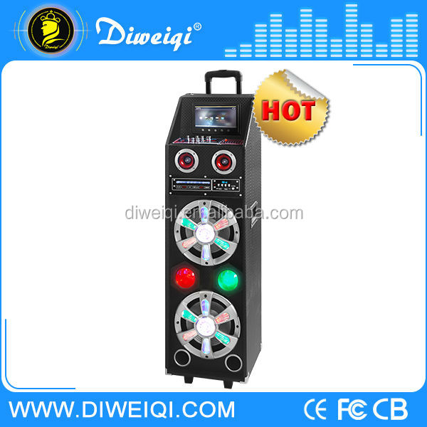 disco trolley speaker with usb EQ/Remote Control/DVD player/display/trafic light/1pc wireless