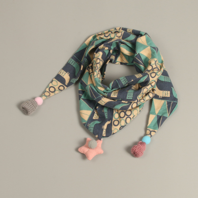 SF17216008 Children's Cotton Triangle Scarf Autumn Winter Boys Girls Cute Small Scarves Child Baby Kids Soft Scarf