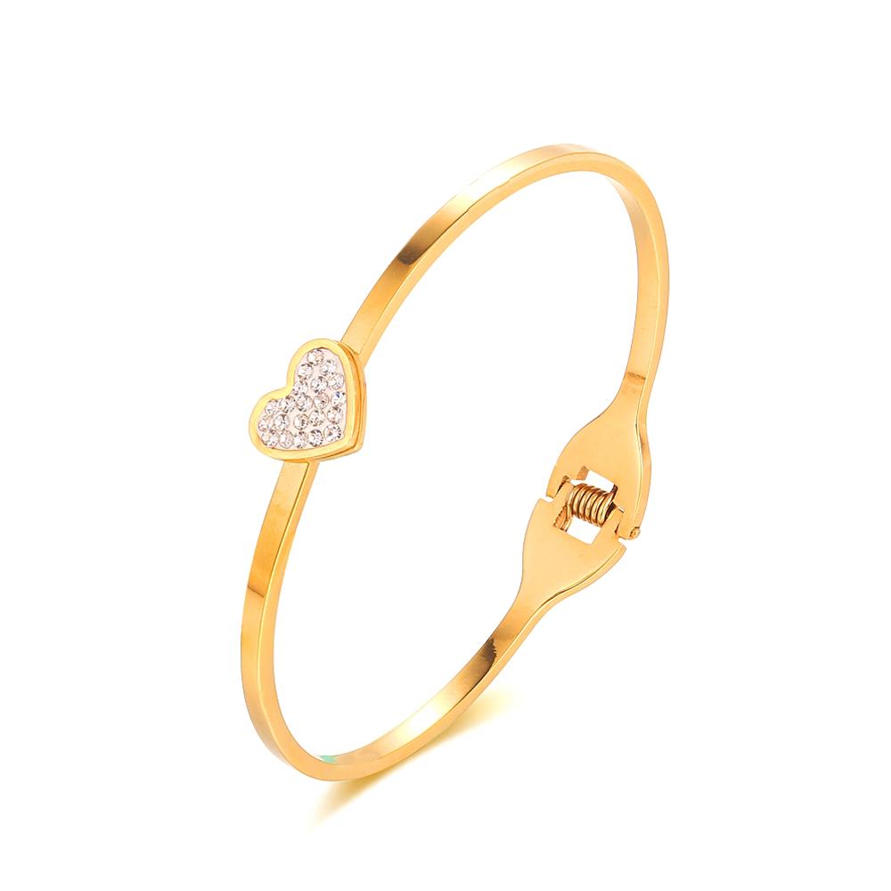 Light Weight Heart Shape Gold Bracelet Dubai Gold Alloy Bangle ...
