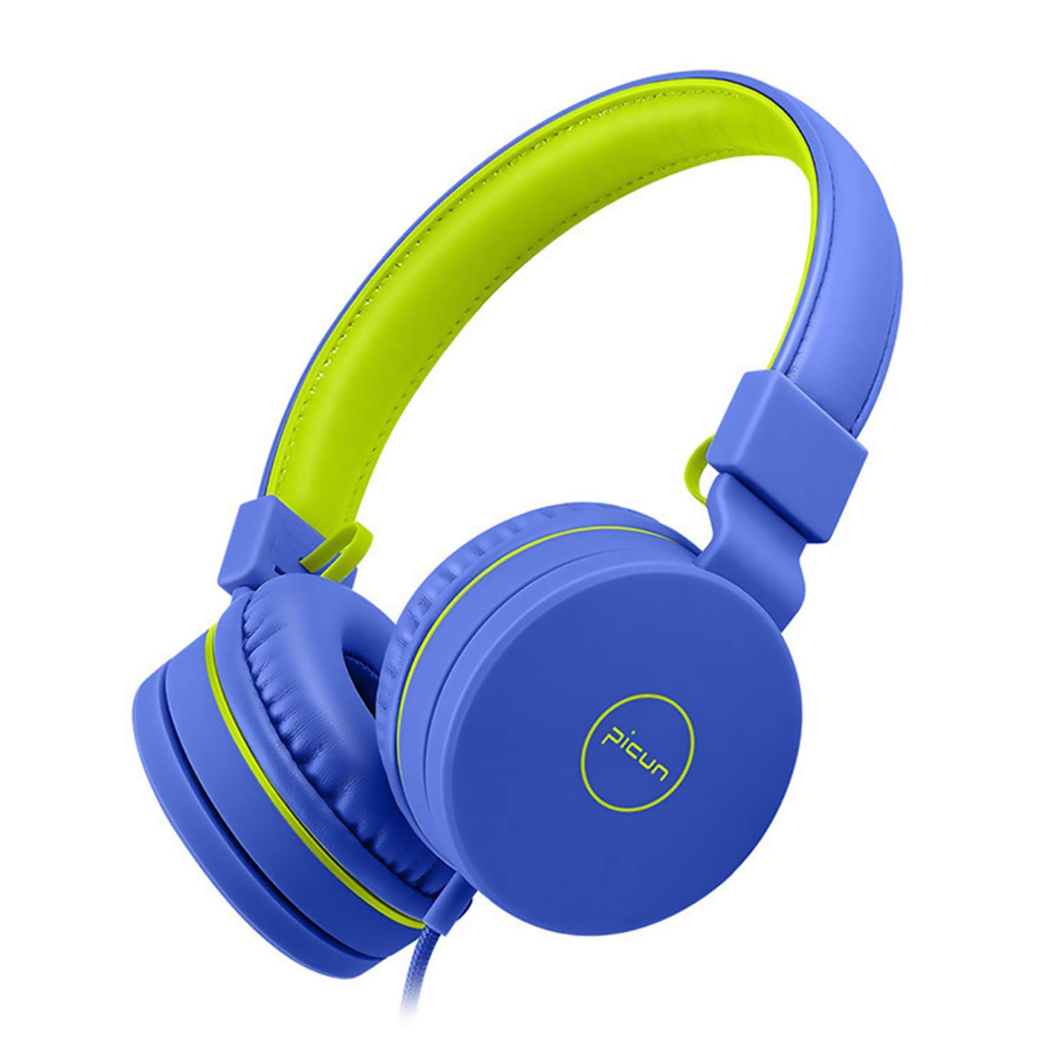 Arkimd Kids Headphones, 85dB Volume Limiting Hearing Protection - with Microphone - Wired Children Foldable On Ear Headphones for Boys Girls Teens School (Blue)