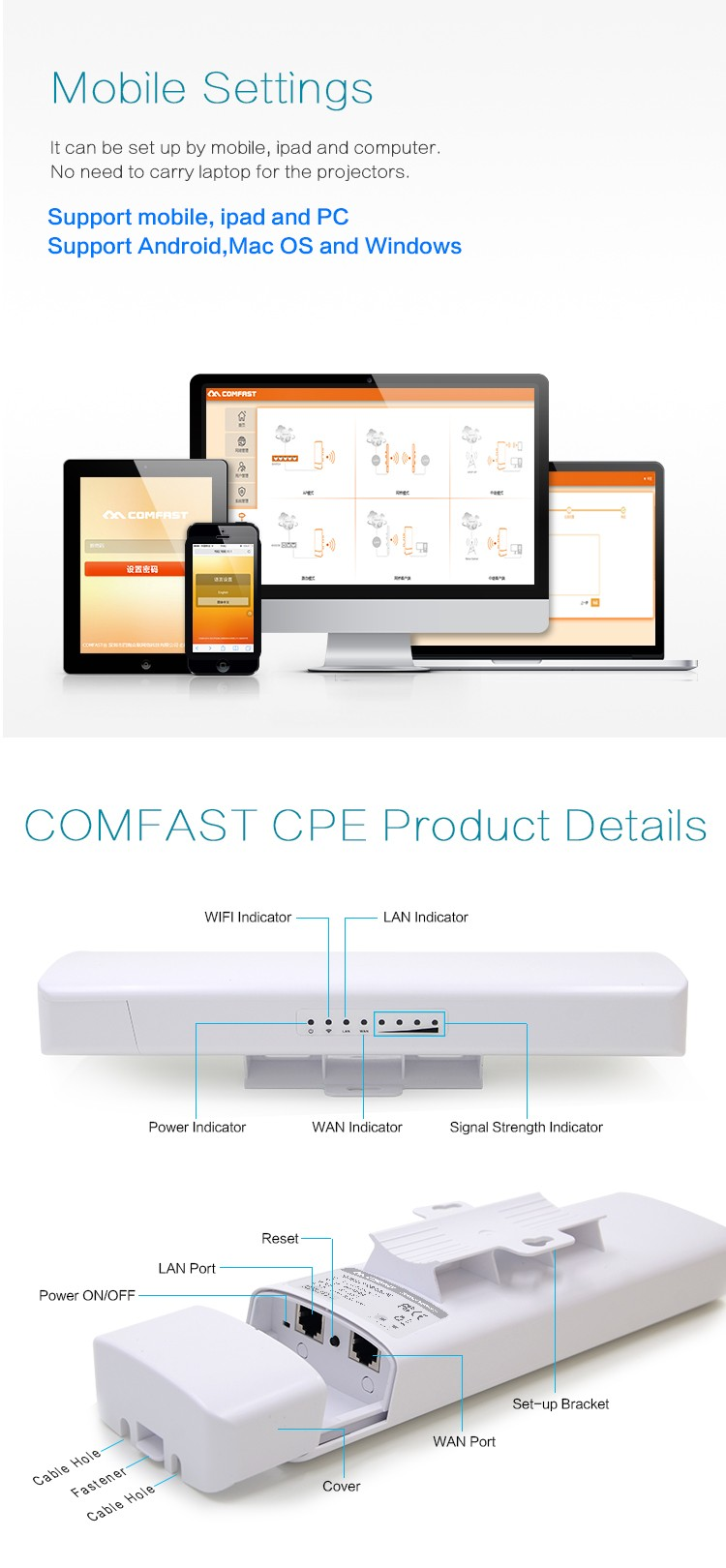 COMFAST CF-E312A High Power Qualcomm 5KM 5Ghz Wireless Router Bridge/Wireless CPE 5ghz/Outdoor Wifi Repeater