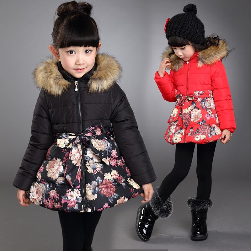 Children s clothing wadded jacket female winter child 2015 child cotton padded jacket plus velvet thickening