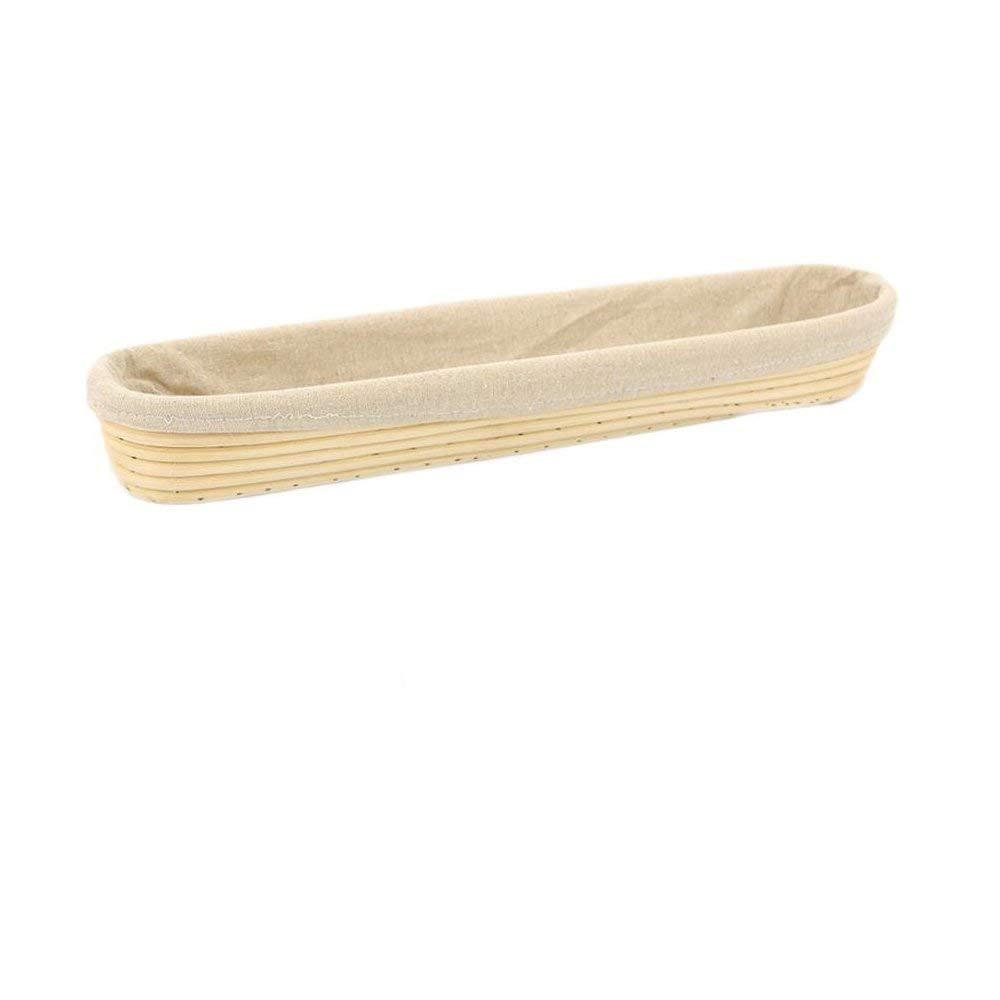 Dgtek 1pcs 15 inch Baguette Banneton Brotform Bread Proofing Basket Natural Rattan Cane Handmade /& Linen Liner Cloth