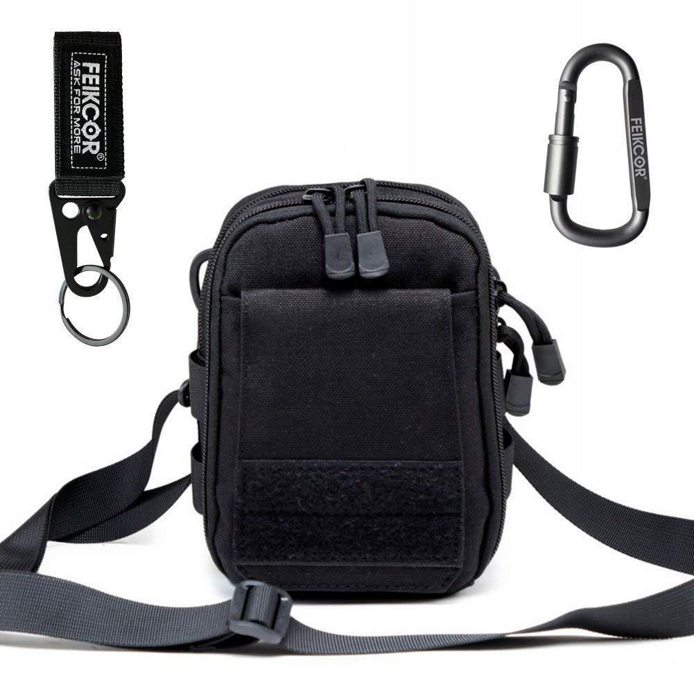 Multipurpose Tactical Nylon Molle Utility IFAK Pouch Waist Bag Military 1000D nylon Gadget Money EDC Pocket Security Carry Case for iPhone X 7 Plus Pixel XL S8 S7 Edge Moto Z Force Play (black)