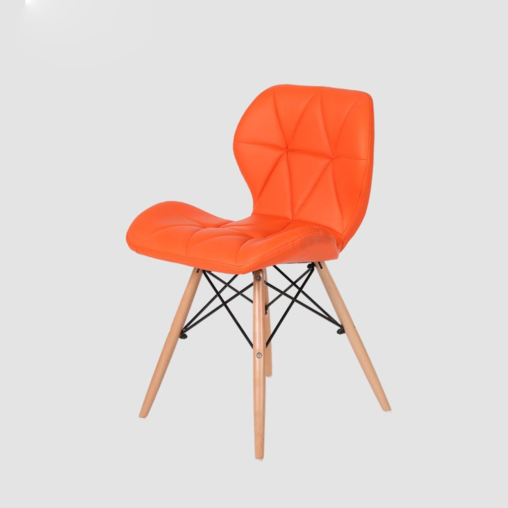 Bar Stool, PU Leather Backrest Office Stool, Kitchen Breakfast Stool, (H45cm W49cm 37cm),Orange