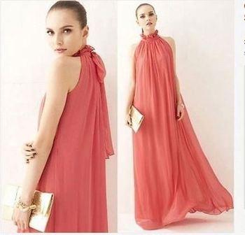 6c64928356bfe Coral Long Maternity Bridesmaid Maxi Dress Holiday Beach Sundress Prom  Dresses