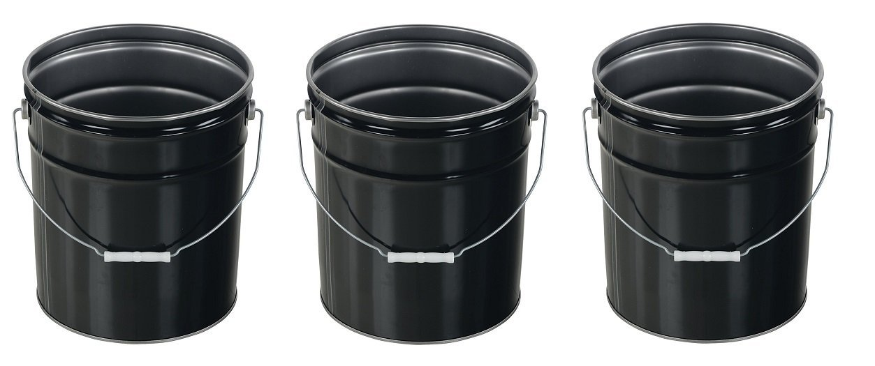 Vestil PAIL-STL-RI Steel Open Head Pail with Handle, 5 gallon Capacity, Black (Pack of 3)
