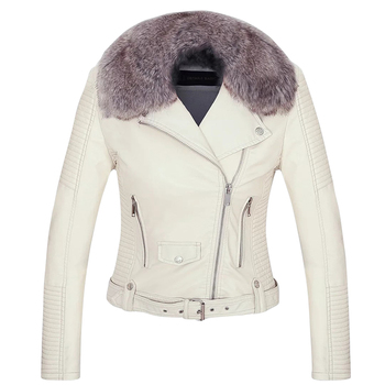 Wholesale On Stock Women Fashion Fall Winter PU Faux Leather with Fur Collar Jackets