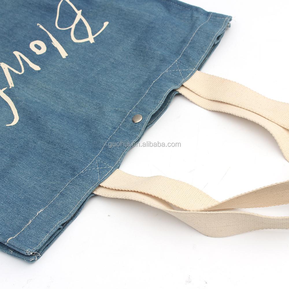 Tecido Denim algodão sacola de compras de algodão com alças e botão de metal