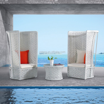 Commercial Modern Outdoor Furniture Sofa White Plastic Rattan Couch