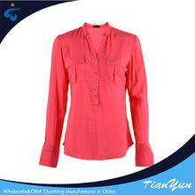 Good quality cheap comfortable 100% rayon red blouses