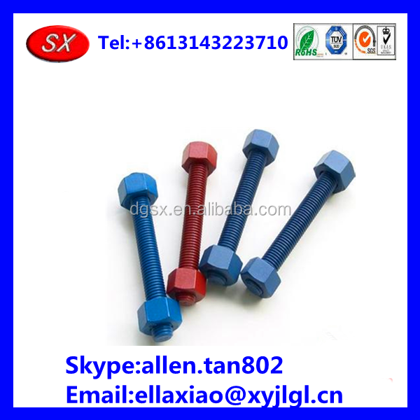 customized high quality OEM lathe turning various of color plated bolt and nuts ,auto lathe colorful bolt and nuts in dongguan