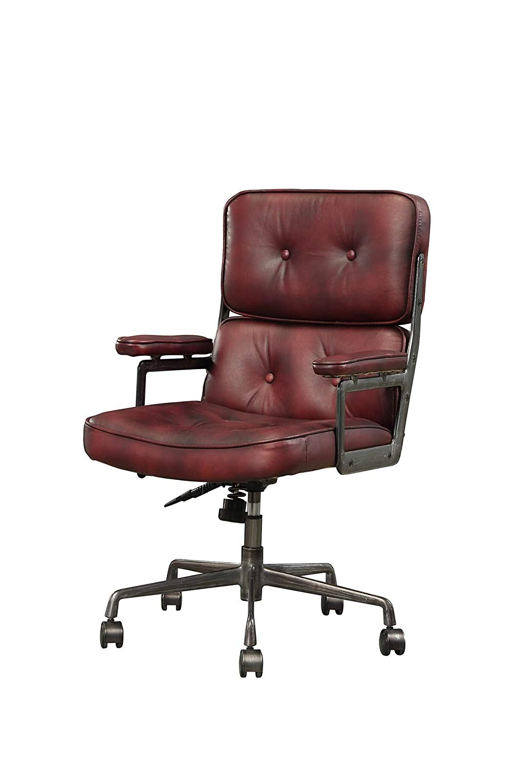"Major-Q 9092027 37"" H Industrial Style Vintage Merlot Top Grain Leather Metal Frame Executive Arm Swivel Adjustable Height Office Chair"