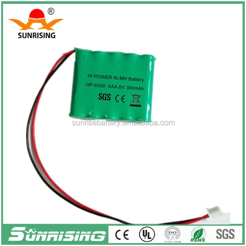 Sunrising AAA 6v 600mah ni mh battery pack/ rechargeable battery pack 4.8v/ Ni-MH AA rechargeable Battery For e-TOYS