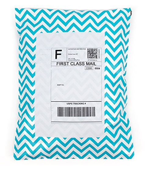10x13 Blue Chevron Colored Shipping Envelopes Poly Mailing Bags