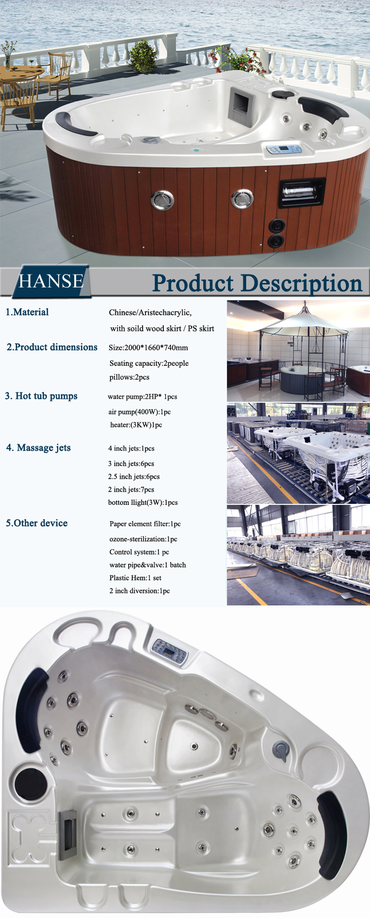 Hs-3358 2 Recliner Spa Tub For Wholesale Dutch Triangle Hot Tub Spa ...