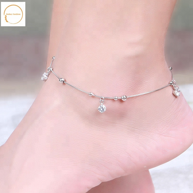Handmade Sterling Silver Multi Stranded Chain Anklet 9 1 5 Extender Delicate Double Layered Ankle Bracelet Dainty Summer Foot Jewelry Best Christmas