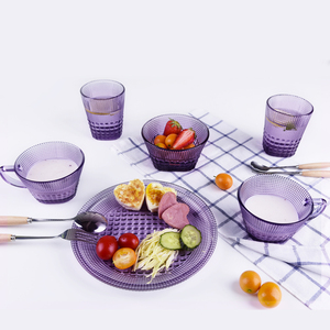 Wholesale embossed purple glass dinnerware sets for hotel