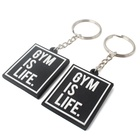 Double Embossed Design Custom Raised Name Logo Soft PVC Plastic Rubber Keychain with GYM Sport Label