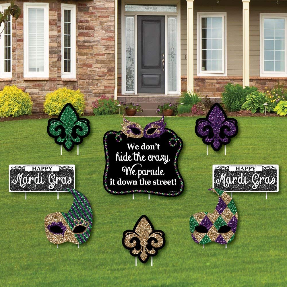 Big Dot of Happiness Mardi Gras - Yard Sign & Outdoor Lawn Decorations - Masquerade Party Yard Signs - Set of 8