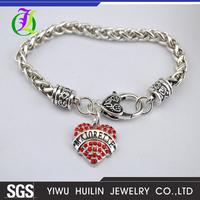 B500107 Yiwu Huilin Jewelry leisure style letter MAJORETTE crystal heart unique handmade bracelets