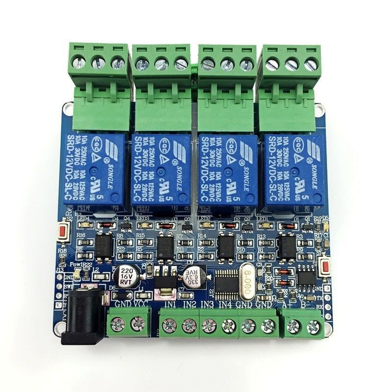 Modbus RTU 4 Way Relay Module STM8S103 System 4 Road Input 485 Communication