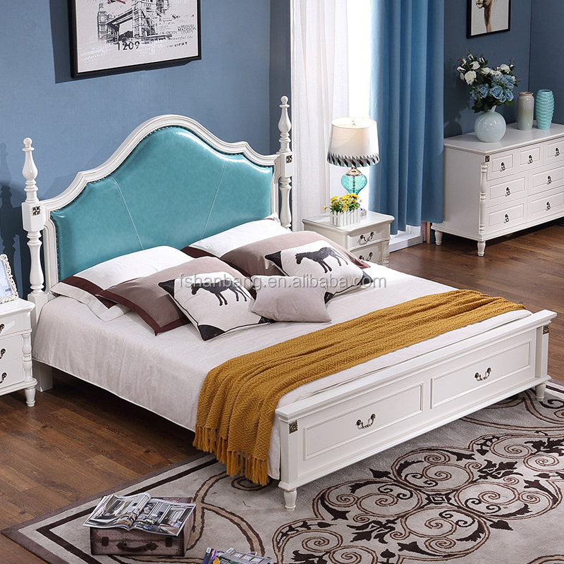 Yeni Modern stil beyaz yatak odası mobilyası ahşap king-size yatak tasarımlar yatak odası takımı
