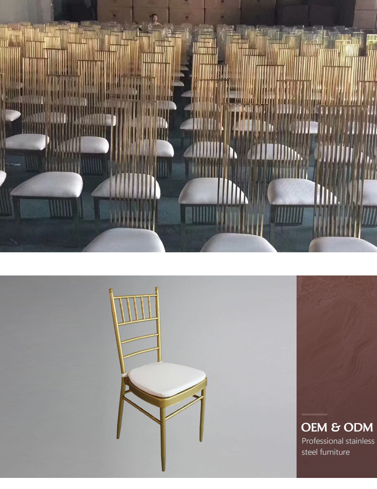 Luxury gold hotel event furniture banquet chairs stainless steel metal wedding chivari chair