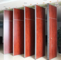 Banquet room collapsible wall acoustic accordion wall soundproof wooden partition folding doors with rollers