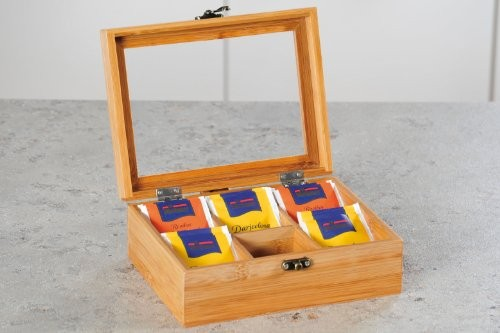 6 Compartment Assorted Bamboo Wooden Tea Bag Box 4
