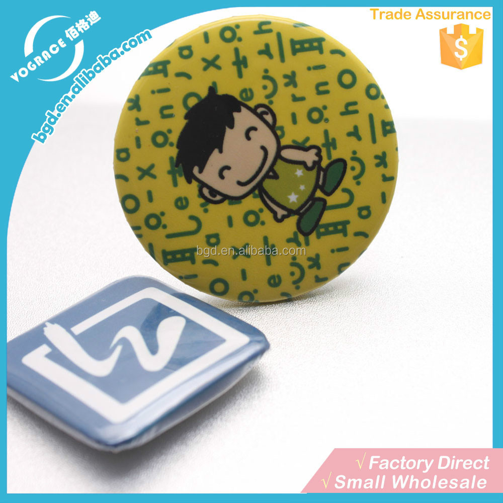 Manufacture Yiwu 2016 printed button square badge plastic round tinplate pin badge for advertising gift with your <strong>logo</strong>