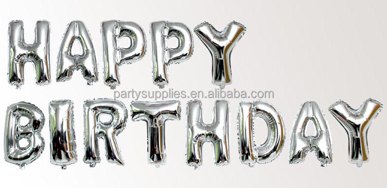 silvergold letter balloons happy birthday aluminum foil balloon classic toys helium foil balloon ballon
