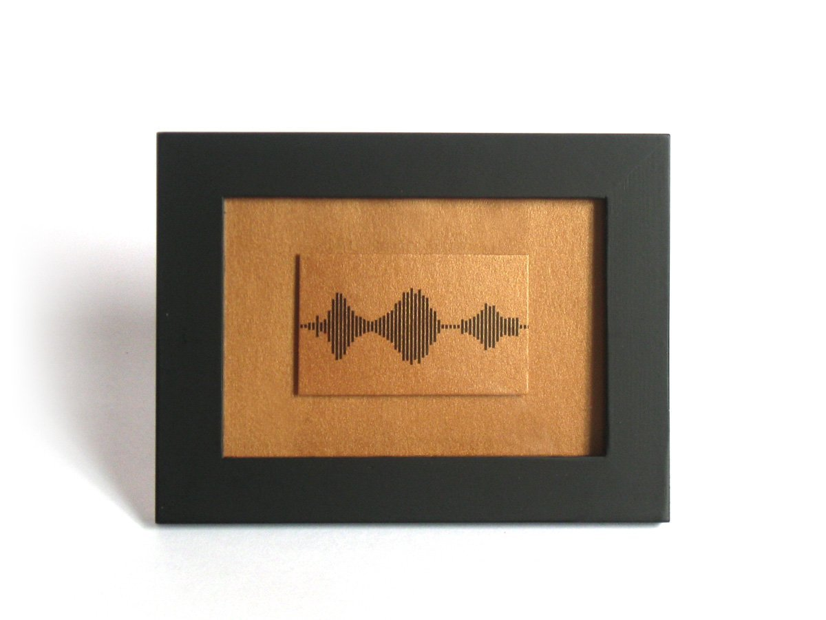 Small Framed Print - I Love You Soundwave Art, Black and Bronze Mountain Reflection Landscape, Visible Voice Valentine Gift for him, - 3.5 x 5 inch, Small Things Great Love series, Bronze