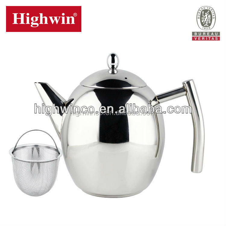 Highwin 2017 crazy selling Double Wall Stainless Steel easy use teapot with S/S 304 infuser with filter