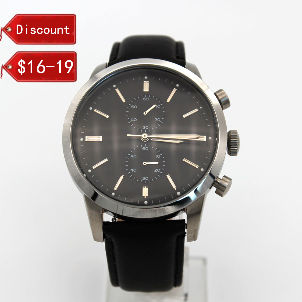 Luminous dial mens watches thick leather strap king quartz watches stainless steel