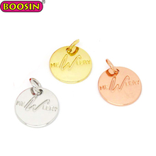 Personalized wholesale custom logo stamped metal tag charms letter word 12mm tags