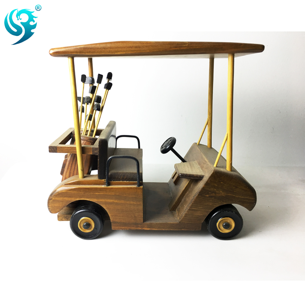 new fashion wholesale wood exquisite model golf cart art craft