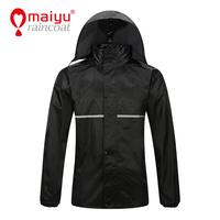 Maiyu waterproof polyester rubber rain coat for men with reflective tape