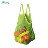 Machine Knitted Making Green Cotton Expandable Mesh Bag With Shoulder Handle