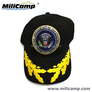 fb942704d9f President commander in chief oak embroidery military officer 6 panel  baseball cap