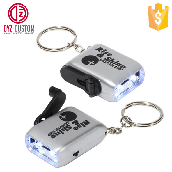 Hand Crank dynamo 2 Led flashlight keychain