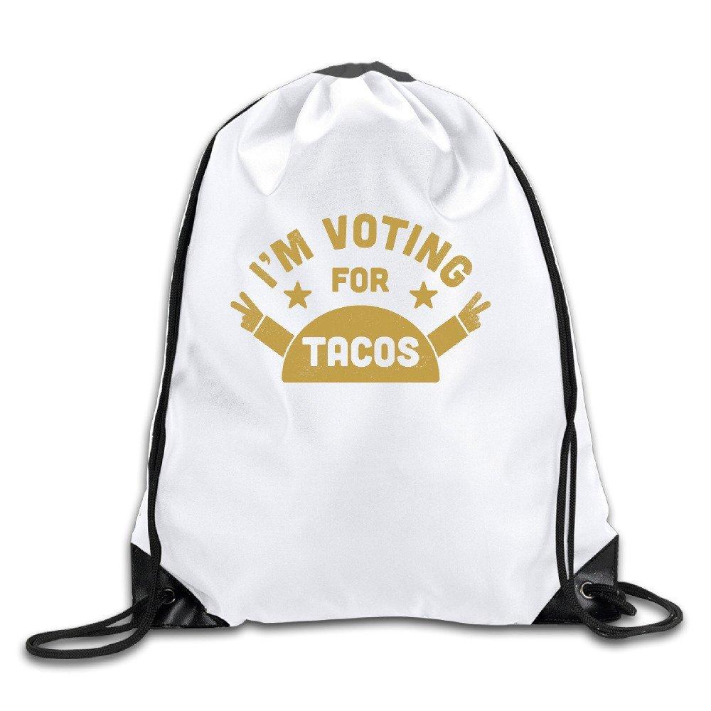 Novelty Animated Cute I'm Voting For Tacos Sport Drawstring Backpack Gym Bag